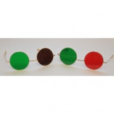 Dark Red/Green Glasses with Metal Frame